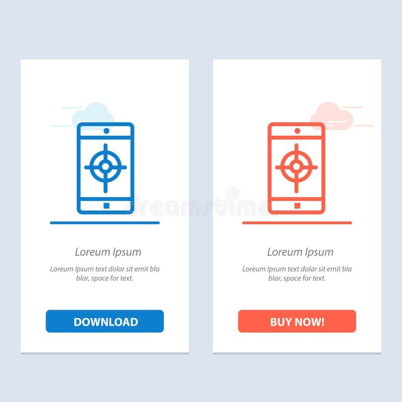 Uso, móvil, aplicación móvil, azul de la blanco y transferencia directa roja y ahora comprar la plantilla de la tarjeta del apara libre illustration