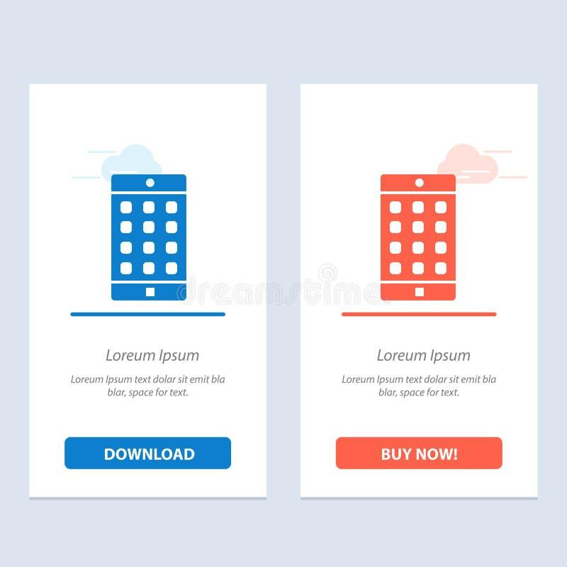 Uso, móvil, aplicación móvil, azul de la contraseña y transferencia directa roja y ahora comprar la plantilla de la tarjeta del a ilustración del vector