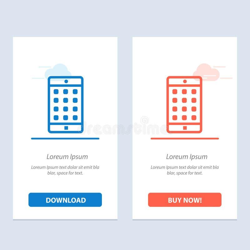 Uso, móvil, aplicación móvil, azul de la contraseña y transferencia directa roja y ahora comprar la plantilla de la tarjeta del a libre illustration