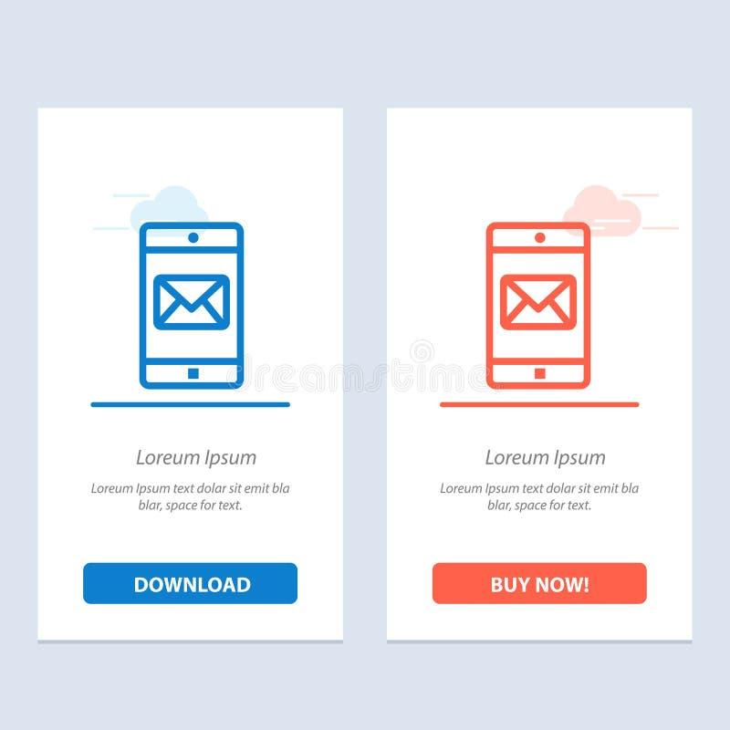 Uso, móvil, aplicación móvil, azul del correo y transferencia directa roja y ahora comprar la plantilla de la tarjeta del aparato ilustración del vector