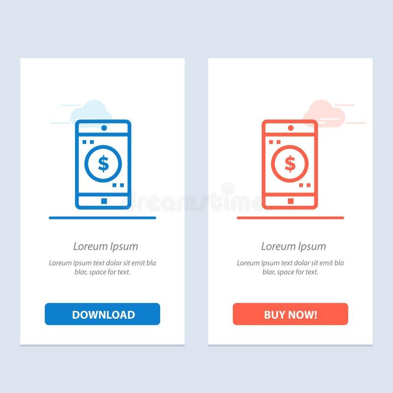 Uso, móvil, aplicación móvil, azul del dólar y transferencia directa roja y ahora comprar la plantilla de la tarjeta del aparato  stock de ilustración