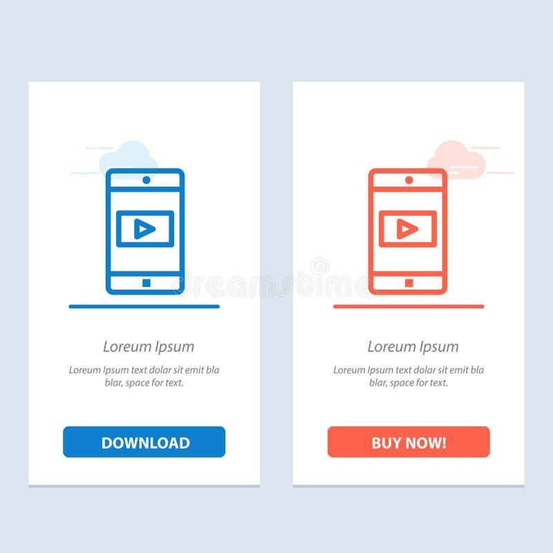 Uso, móvil, aplicación móvil, azul video y transferencia directa roja y ahora comprar la plantilla de la tarjeta del aparato de l ilustración del vector