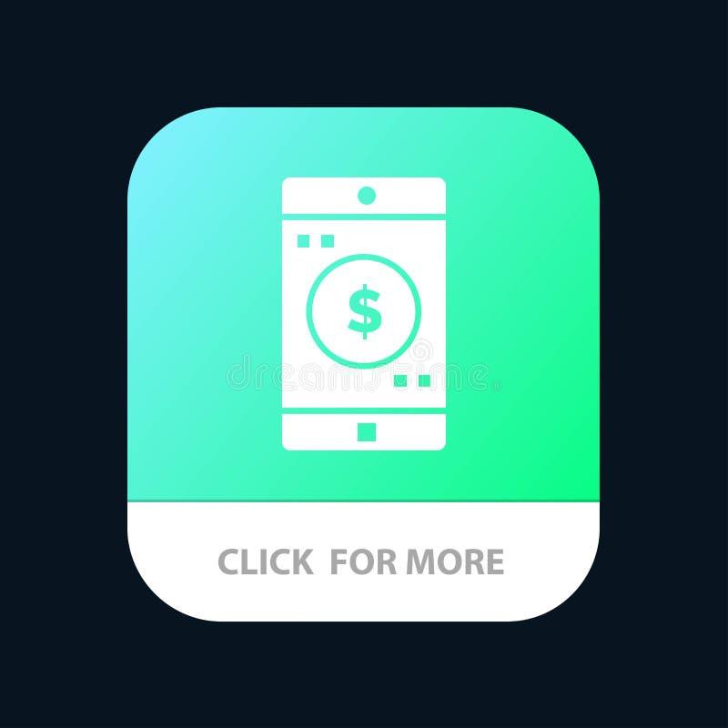 Uso, móvil, aplicación móvil, botón móvil del App del dólar Android y versión del Glyph del IOS libre illustration