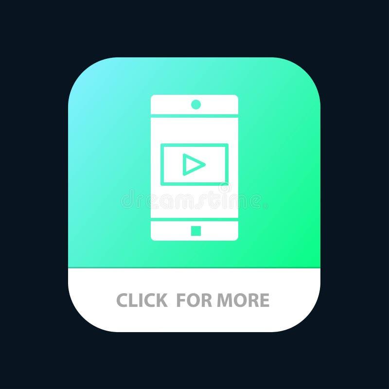 Uso, móvil, aplicación móvil, botón móvil del App del vídeo Android y versión del Glyph del IOS stock de ilustración