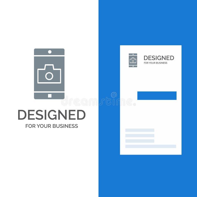 Uso, móvil, aplicación móvil, cámara Grey Logo Design y plantilla de la tarjeta de visita stock de ilustración