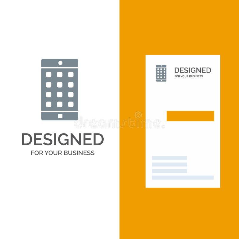 Uso, móvil, aplicación móvil, contraseña Grey Logo Design y plantilla de la tarjeta de visita stock de ilustración