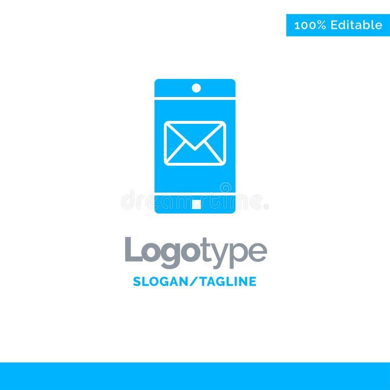 Uso, móvil, aplicación móvil, correo Logo Template sólido azul Lugar para el Tagline stock de ilustración