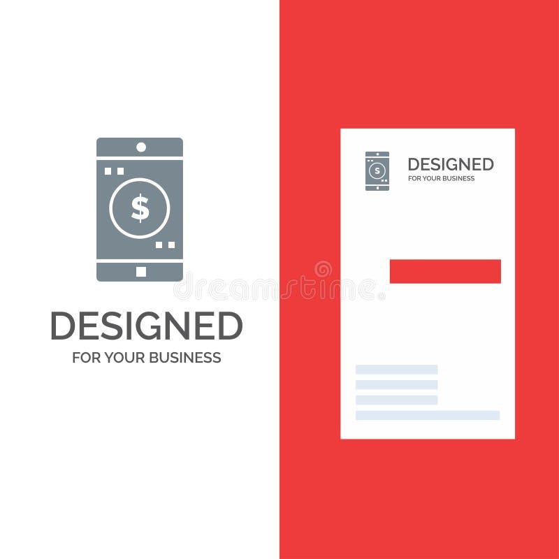 Uso, móvil, aplicación móvil, dólar Grey Logo Design y plantilla de la tarjeta de visita libre illustration