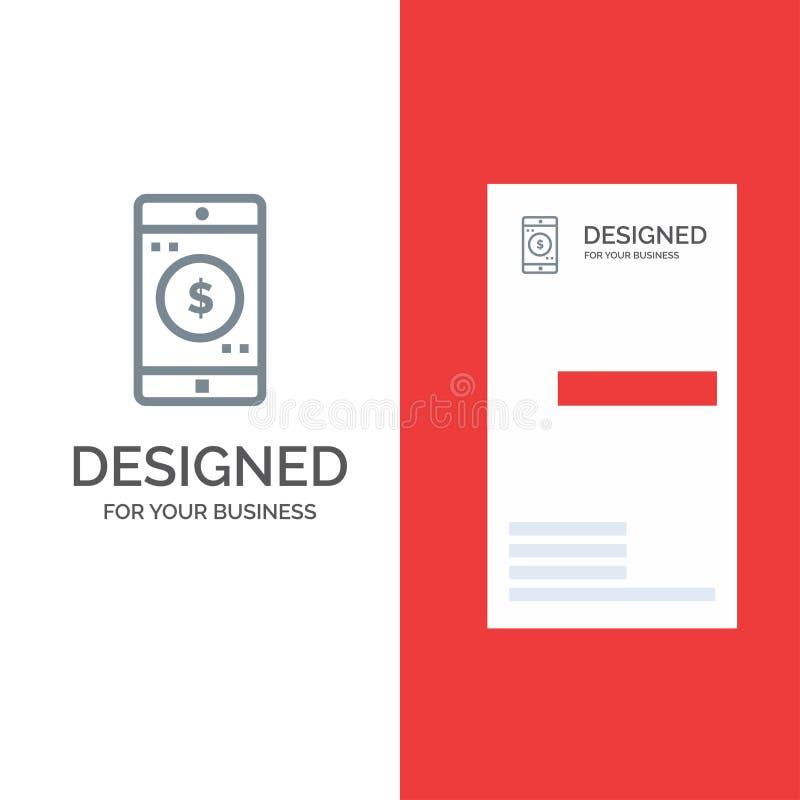 Uso, móvil, aplicación móvil, dólar Grey Logo Design y plantilla de la tarjeta de visita ilustración del vector