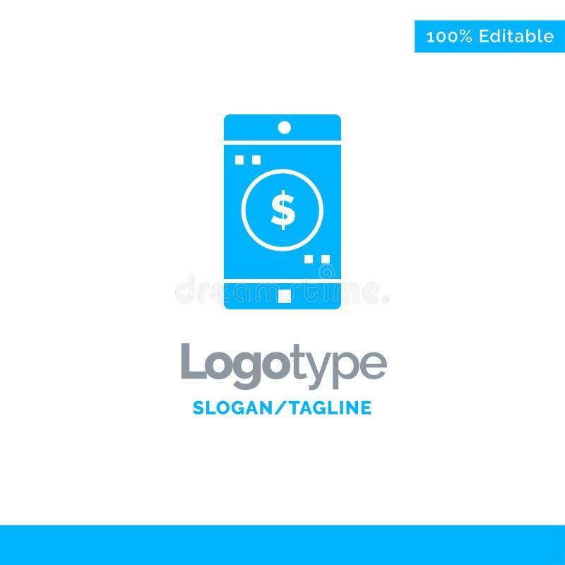 Uso, móvil, aplicación móvil, dólar Logo Template sólido azul Lugar para el Tagline ilustración del vector