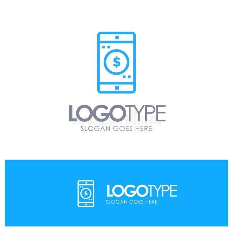Uso, móvil, aplicación móvil, esquema azul Logo Place del dólar para el Tagline stock de ilustración