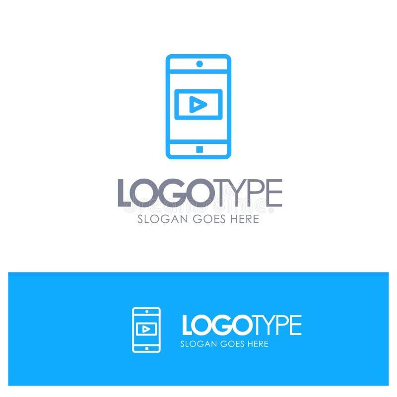 Uso, móvil, aplicación móvil, esquema azul Logo Place del vídeo para el Tagline ilustración del vector