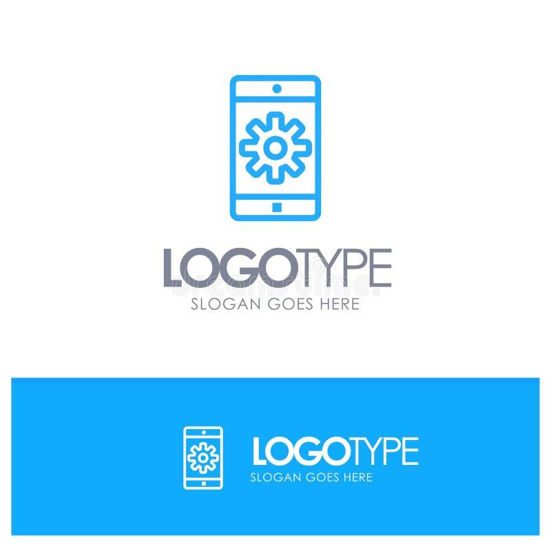 Uso, móvil, aplicación móvil, fijando el esquema azul Logo Place para el Tagline stock de ilustración