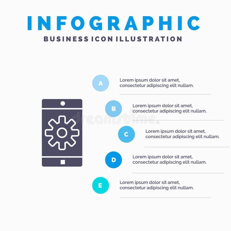 Uso, móvil, aplicación móvil, fijando el fondo sólido de la presentación de los pasos de Infographics 5 del icono stock de ilustración