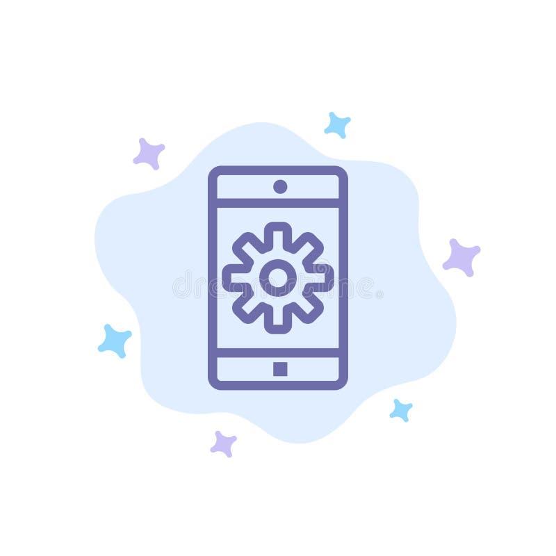 Uso, móvil, aplicación móvil, fijando el icono azul en fondo abstracto de la nube stock de ilustración