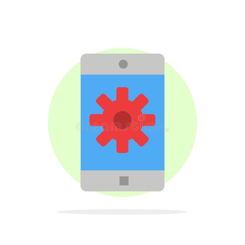 Uso, móvil, aplicación móvil, fijando el icono plano del color de fondo abstracto del círculo libre illustration