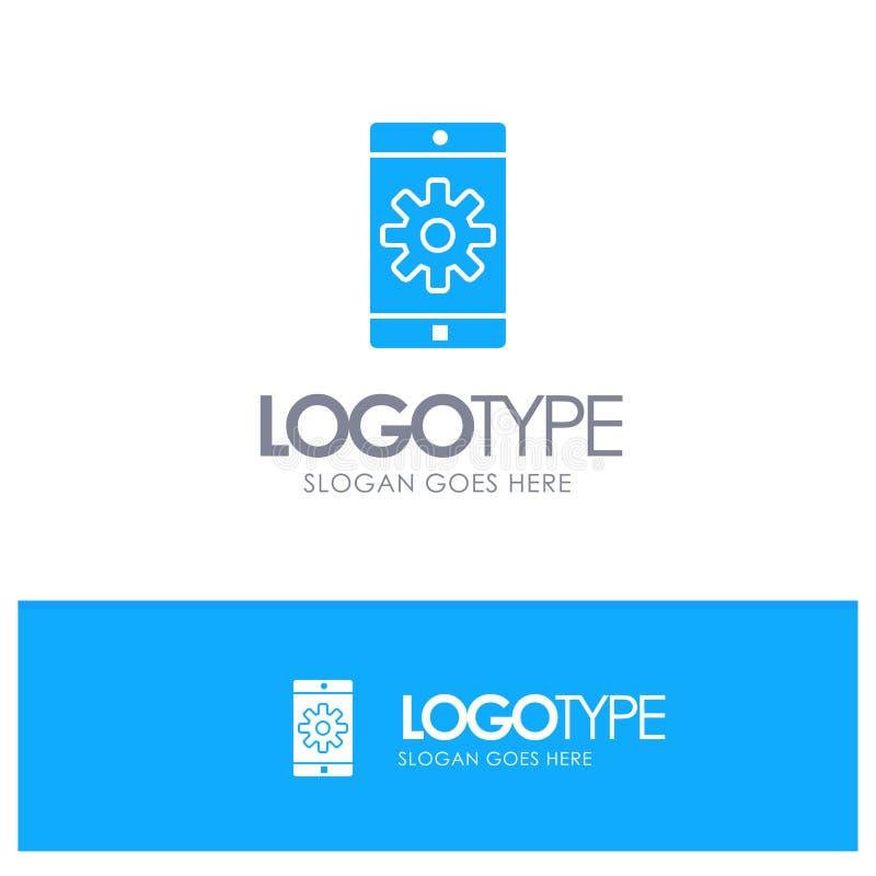 Uso, móvil, aplicación móvil, fijando el logotipo sólido azul con el lugar para el tagline ilustración del vector