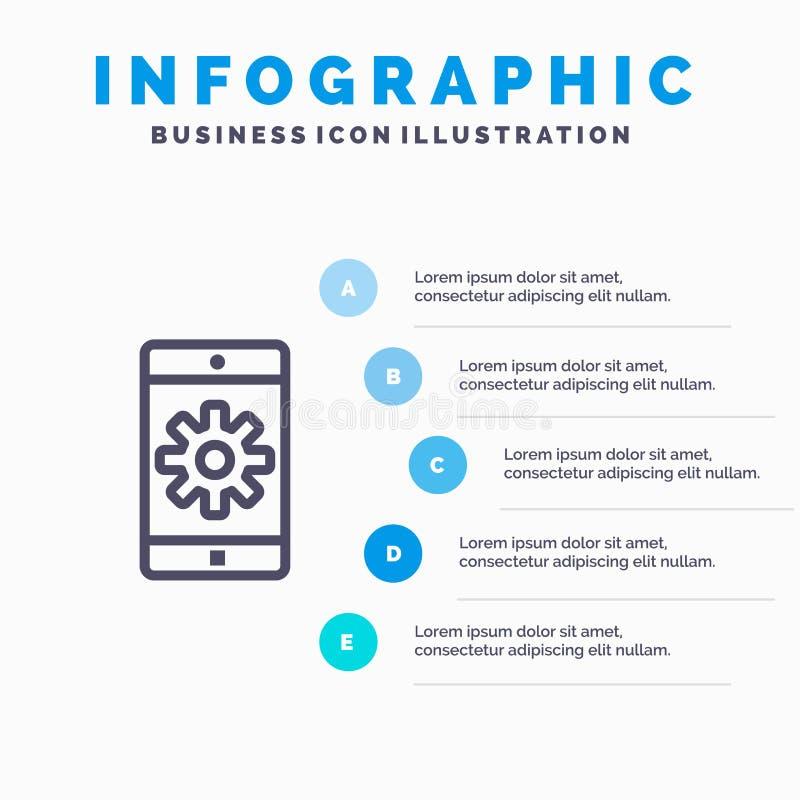 Uso, móvil, aplicación móvil, fijando la línea icono con el fondo del infographics de la presentación de 5 pasos stock de ilustración