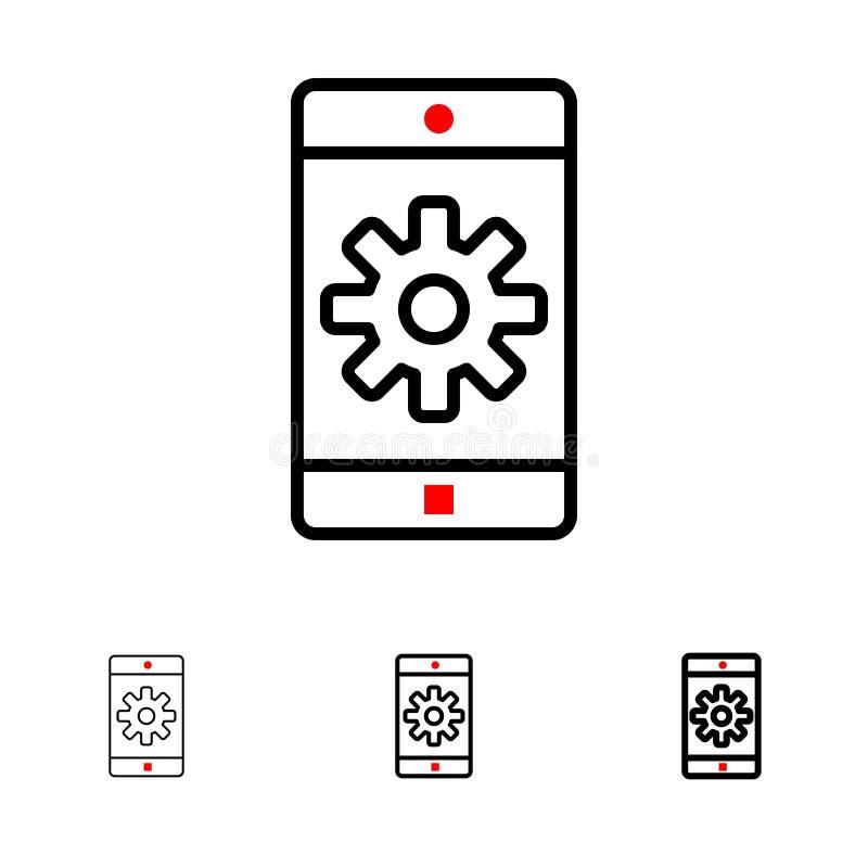 Uso, móvil, aplicación móvil, fijando la línea negra intrépida y fina sistema del icono stock de ilustración