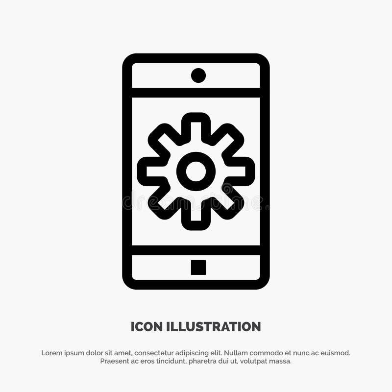 Uso, móvil, aplicación móvil, fijando la línea vector del icono stock de ilustración