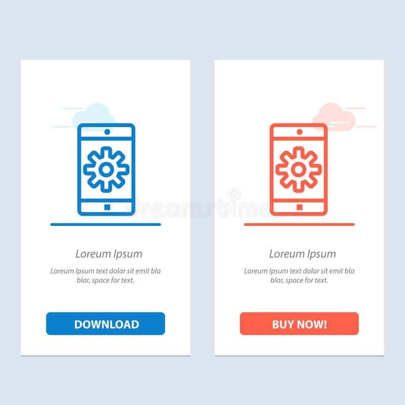 Uso, móvil, aplicación móvil, fijando transferencia directa azul y roja y ahora comprar la plantilla de la tarjeta del aparato de ilustración del vector