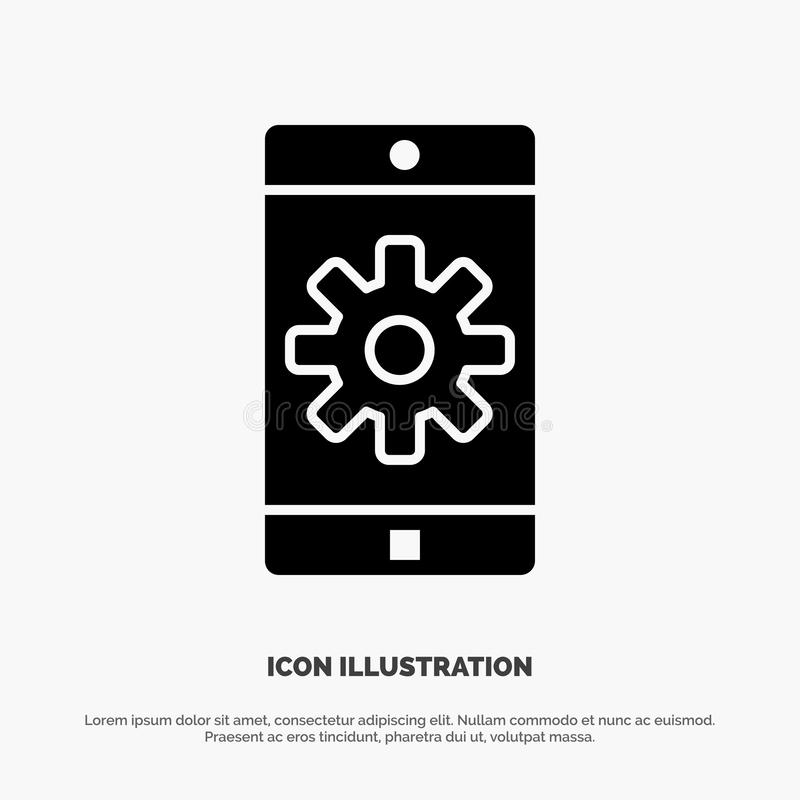 Uso, móvil, aplicación móvil, fijando vector sólido del icono del Glyph libre illustration