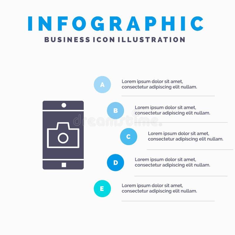 Uso, móvil, aplicación móvil, fondo sólido de la presentación de los pasos de Infographics 5 del icono de la cámara stock de ilustración