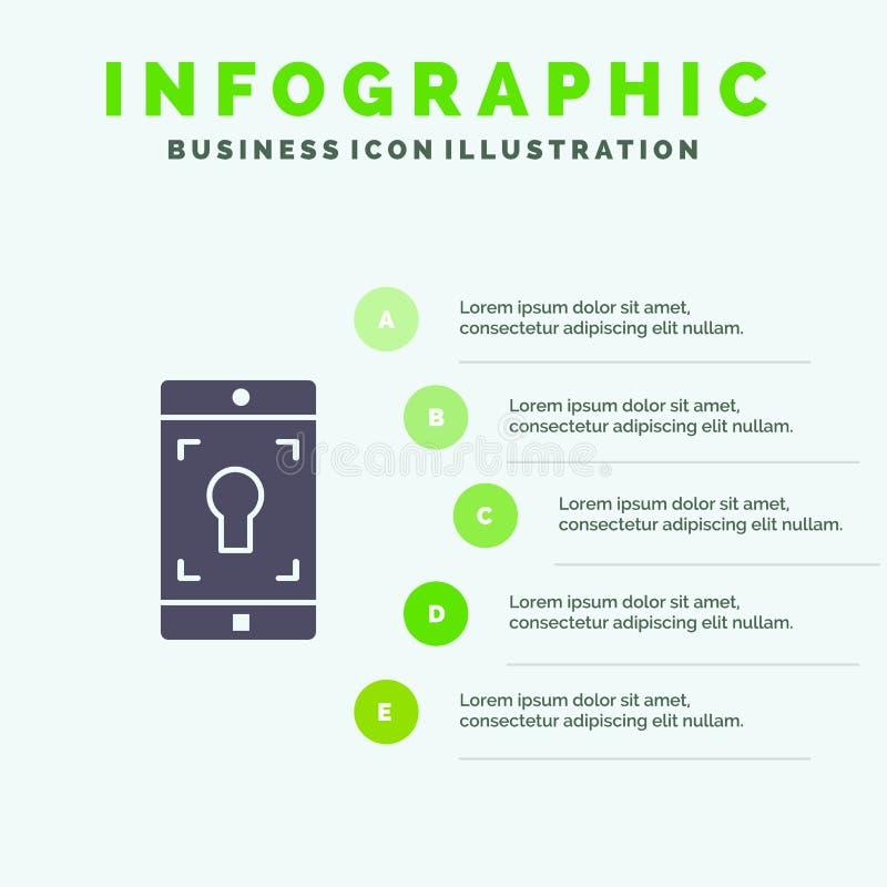 Uso, móvil, aplicación móvil, fondo sólido de la presentación de los pasos de Infographics 5 del icono de la pantalla libre illustration