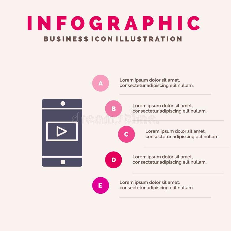 Uso, móvil, aplicación móvil, fondo sólido de la presentación de los pasos de Infographics 5 del icono del vídeo libre illustration