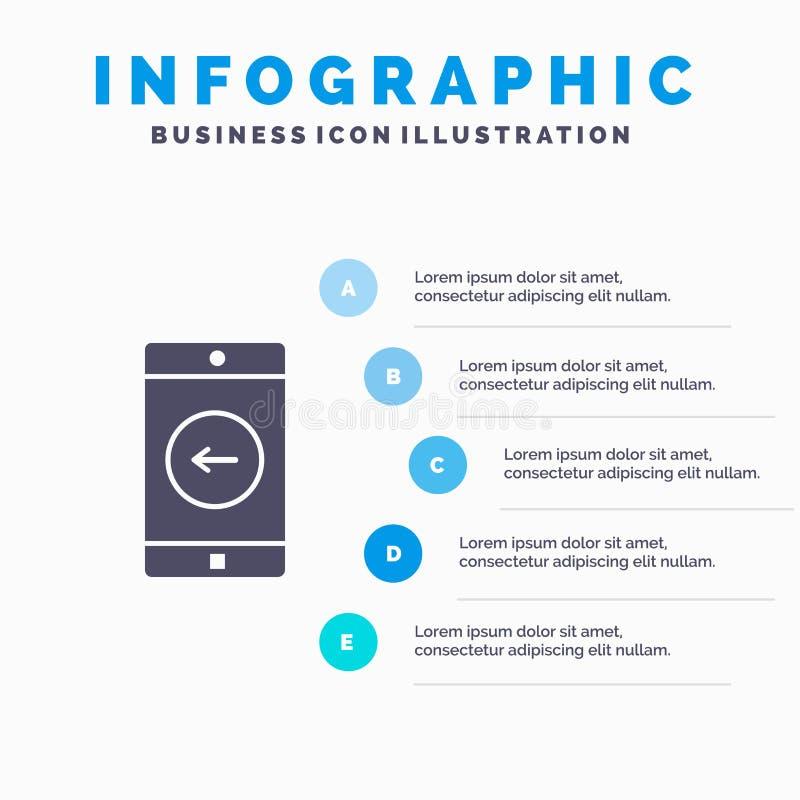 Uso, móvil, aplicación móvil, fondo sólido izquierdo de la presentación de los pasos de Infographics 5 del icono libre illustration