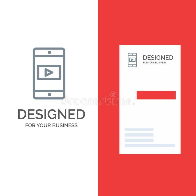 Uso, móvil, aplicación móvil, Grey Logo Design video y plantilla de la tarjeta de visita ilustración del vector