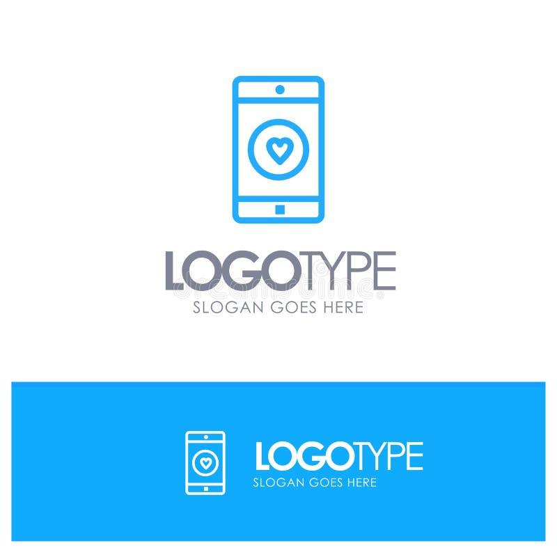 Uso, móvil, aplicación móvil, gusto, esquema azul Logo Place del corazón para el Tagline ilustración del vector