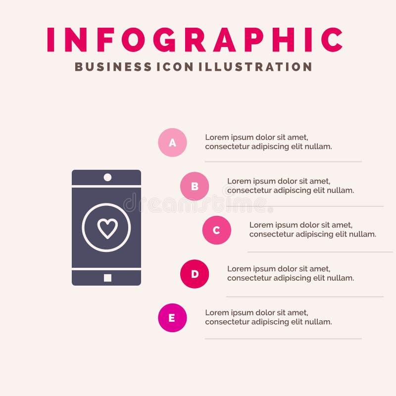Uso, móvil, aplicación móvil, gusto, fondo sólido de la presentación de los pasos de Infographics 5 del icono del corazón stock de ilustración