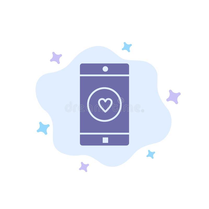 Uso, móvil, aplicación móvil, gusto, icono azul del corazón en fondo abstracto de la nube stock de ilustración