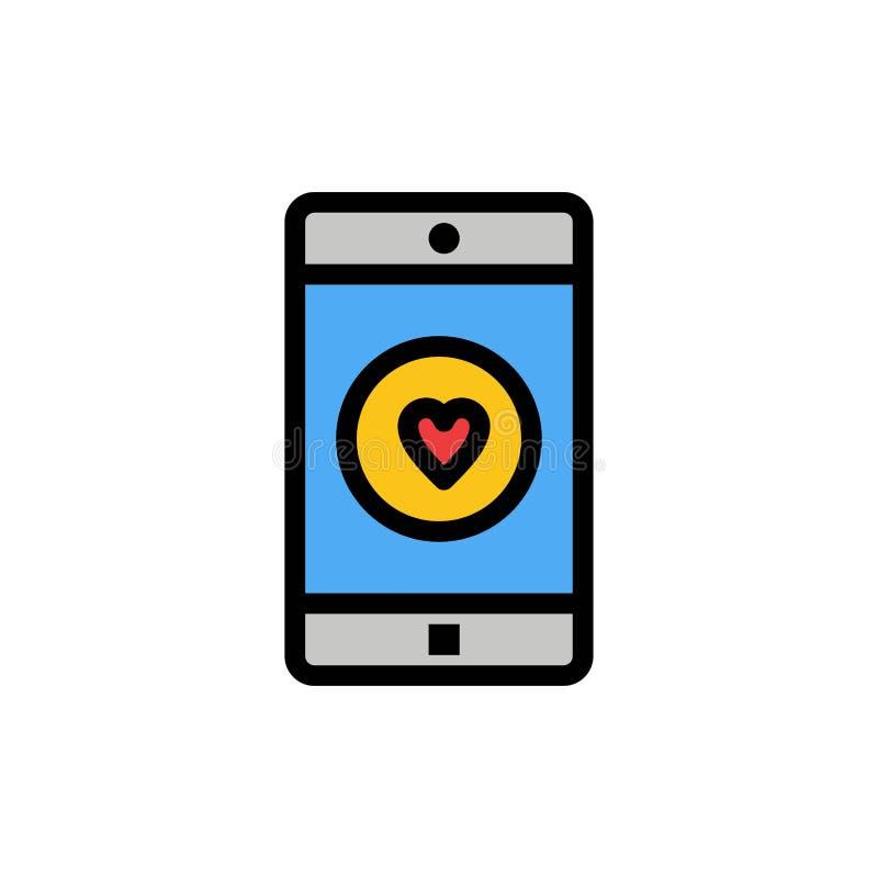 Uso, móvil, aplicación móvil, gusto, icono plano del color del corazón Plantilla de la bandera del icono del vector stock de ilustración