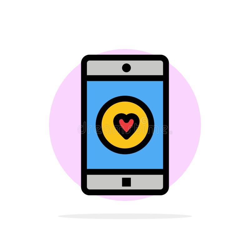 Uso, móvil, aplicación móvil, gusto, icono plano del color de fondo abstracto del círculo del corazón stock de ilustración
