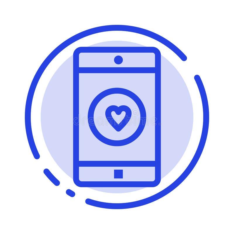 Uso, móvil, aplicación móvil, gusto, línea de puntos azul línea icono del corazón stock de ilustración