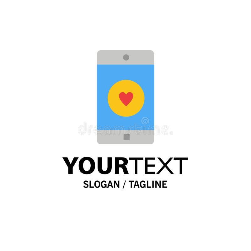 Uso, móvil, aplicación móvil, gusto, negocio Logo Template del corazón color plano stock de ilustración