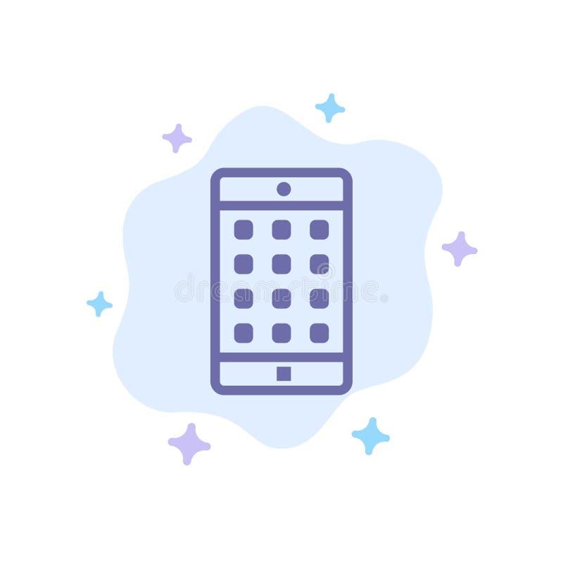 Uso, móvil, aplicación móvil, icono azul de la contraseña en fondo abstracto de la nube stock de ilustración
