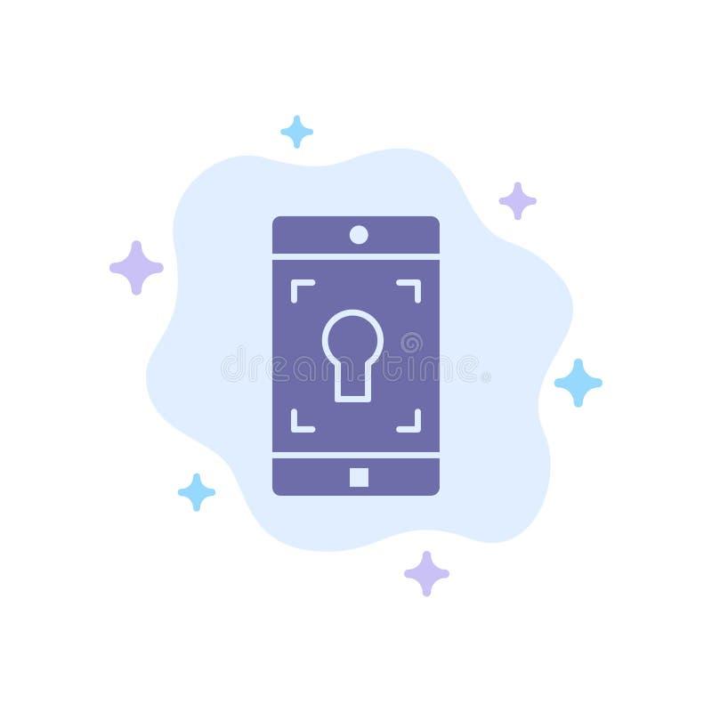 Uso, móvil, aplicación móvil, icono azul de la pantalla en fondo abstracto de la nube stock de ilustración