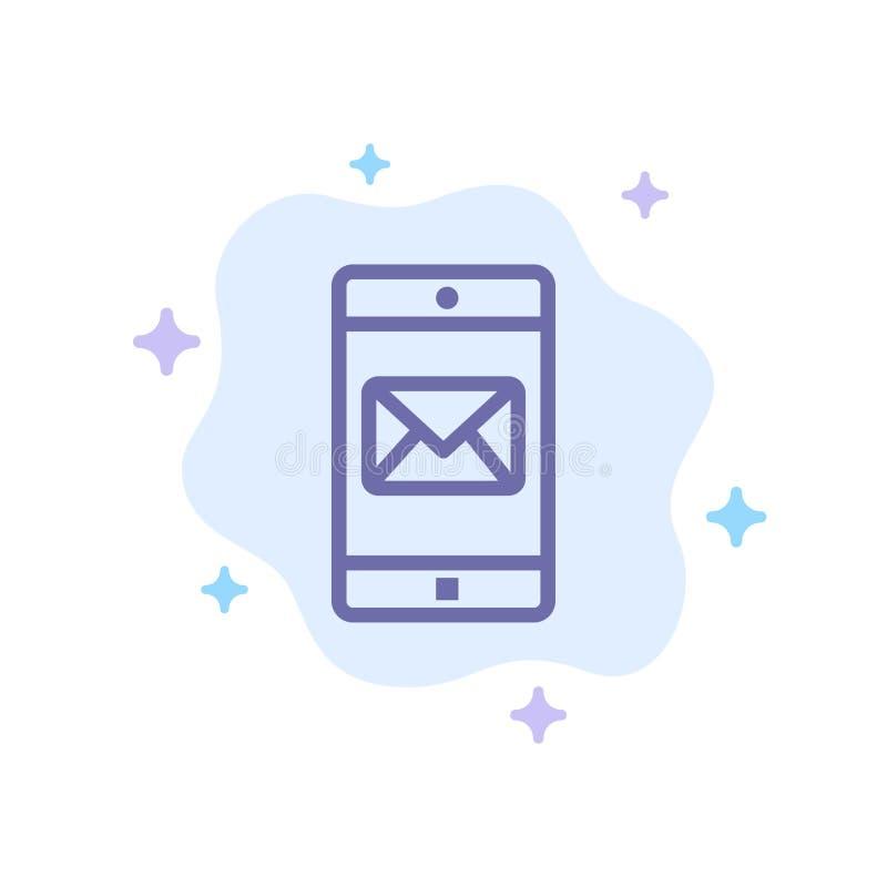 Uso, móvil, aplicación móvil, icono azul del correo en fondo abstracto de la nube ilustración del vector