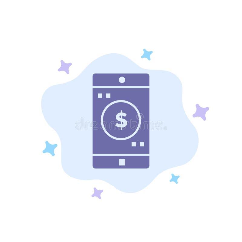 Uso, móvil, aplicación móvil, icono azul del dólar en fondo abstracto de la nube ilustración del vector