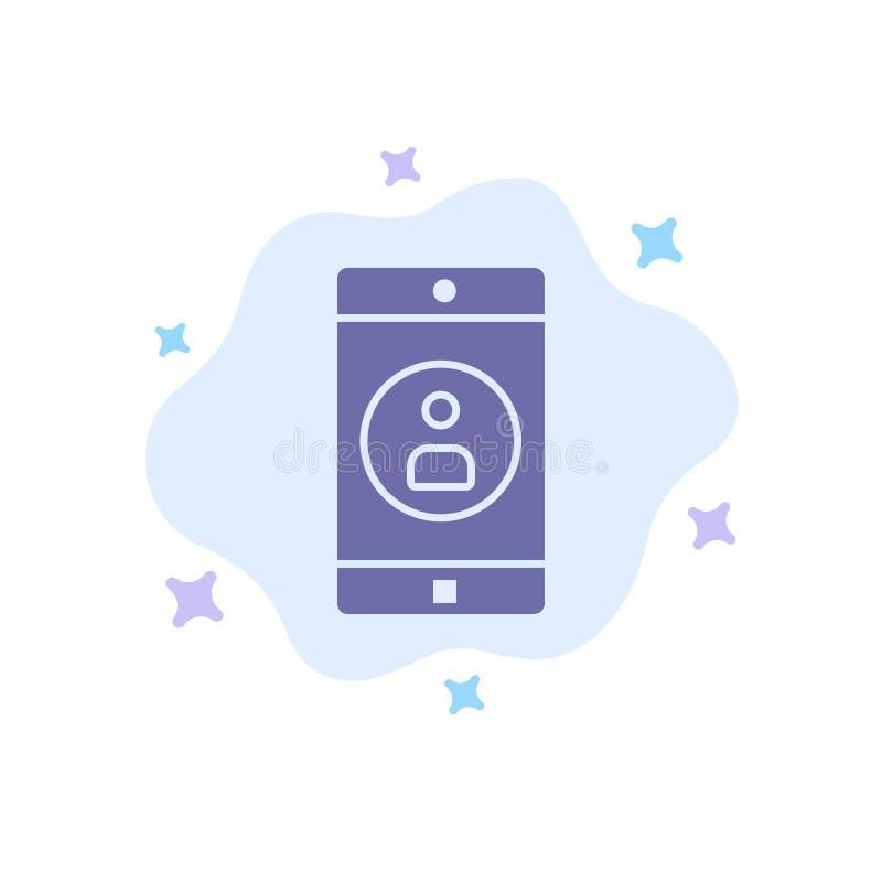 Uso, móvil, aplicación móvil, icono azul del perfil en fondo abstracto de la nube ilustración del vector