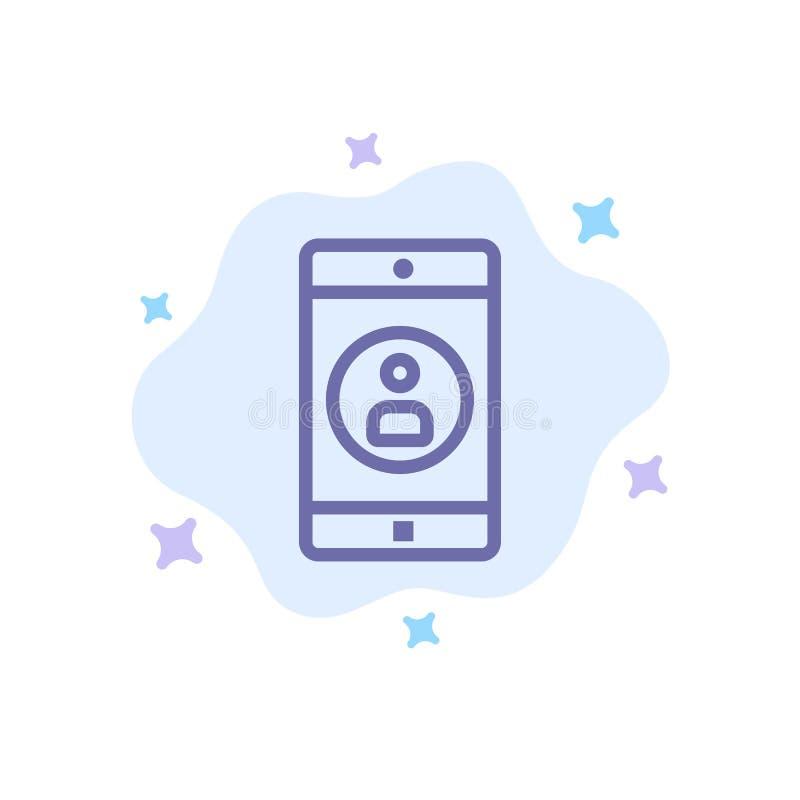 Uso, móvil, aplicación móvil, icono azul del perfil en fondo abstracto de la nube libre illustration