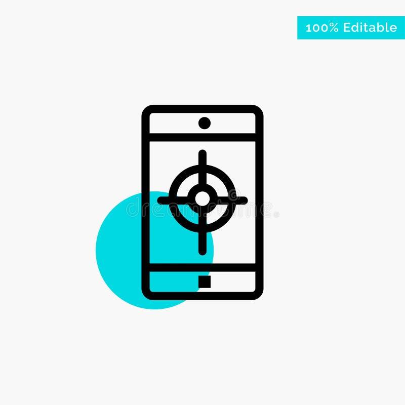 Uso, móvil, aplicación móvil, icono del vector del punto del círculo del punto culminante de la turquesa de la blanco ilustración del vector