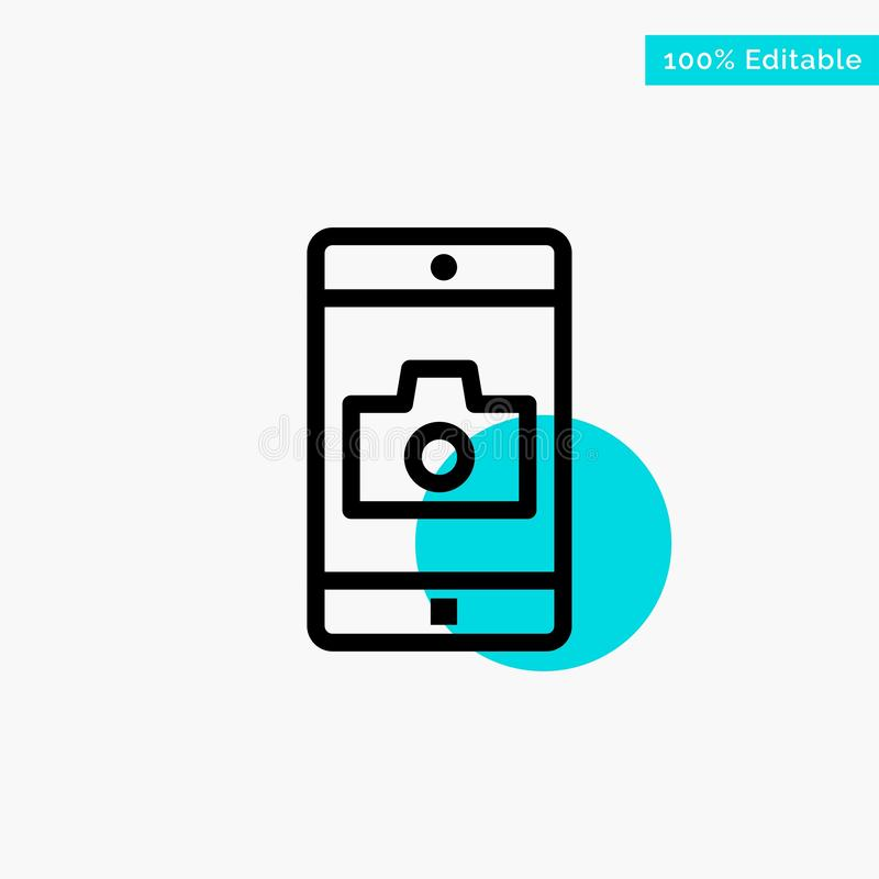 Uso, móvil, aplicación móvil, icono del vector del punto del círculo del punto culminante de la turquesa de la cámara stock de ilustración