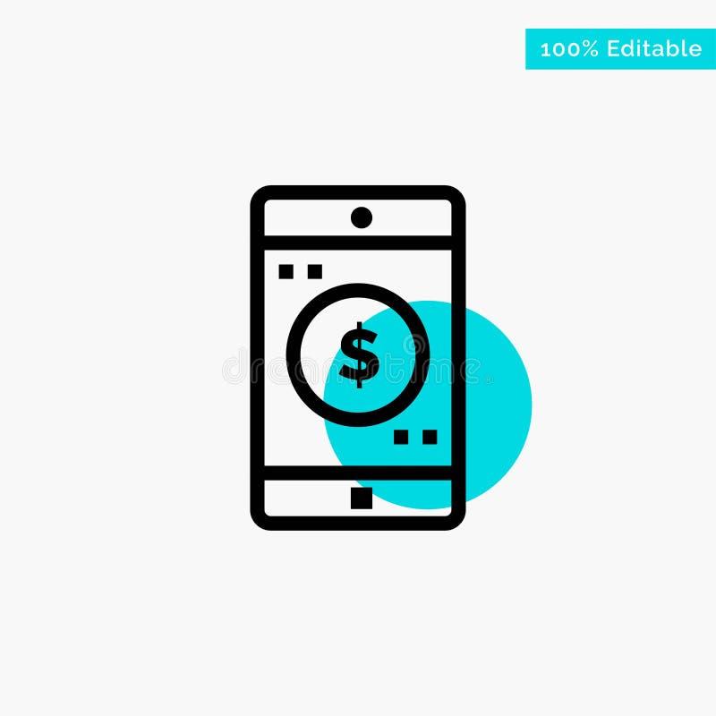 Uso, móvil, aplicación móvil, icono del vector del punto del círculo del punto culminante de la turquesa del dólar stock de ilustración