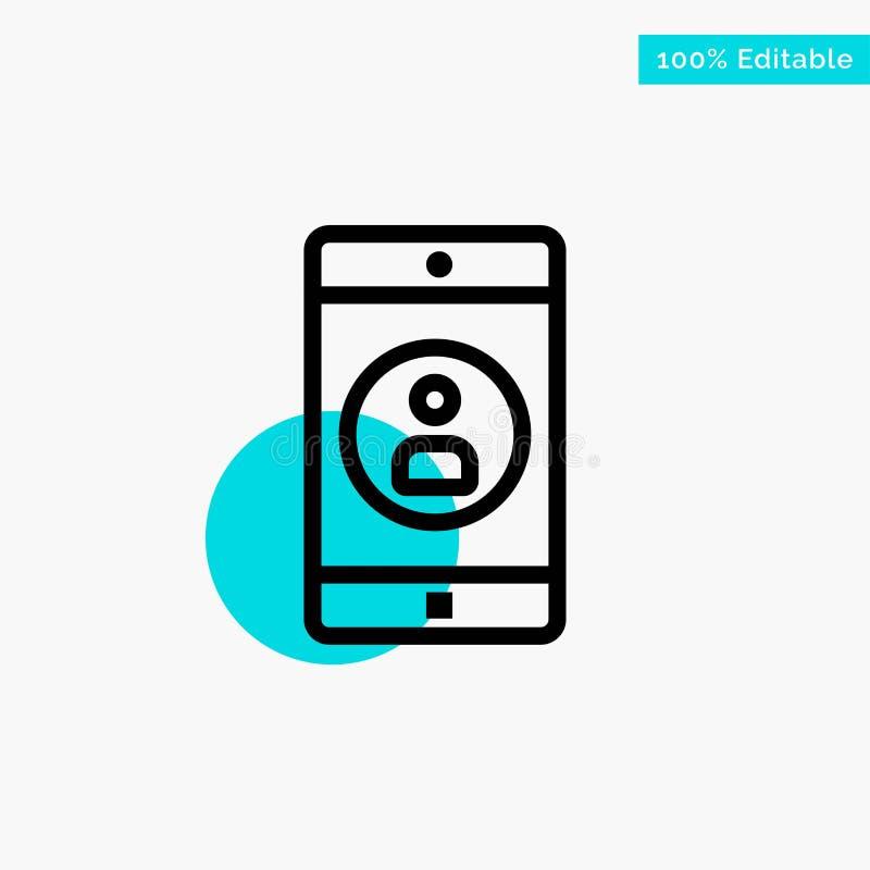 Uso, móvil, aplicación móvil, icono del vector del punto del círculo del punto culminante de la turquesa del perfil libre illustration