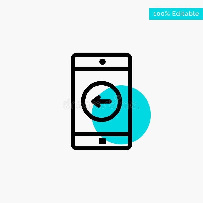Uso, móvil, aplicación móvil, icono izquierdo del vector del punto del círculo del punto culminante de la turquesa ilustración del vector