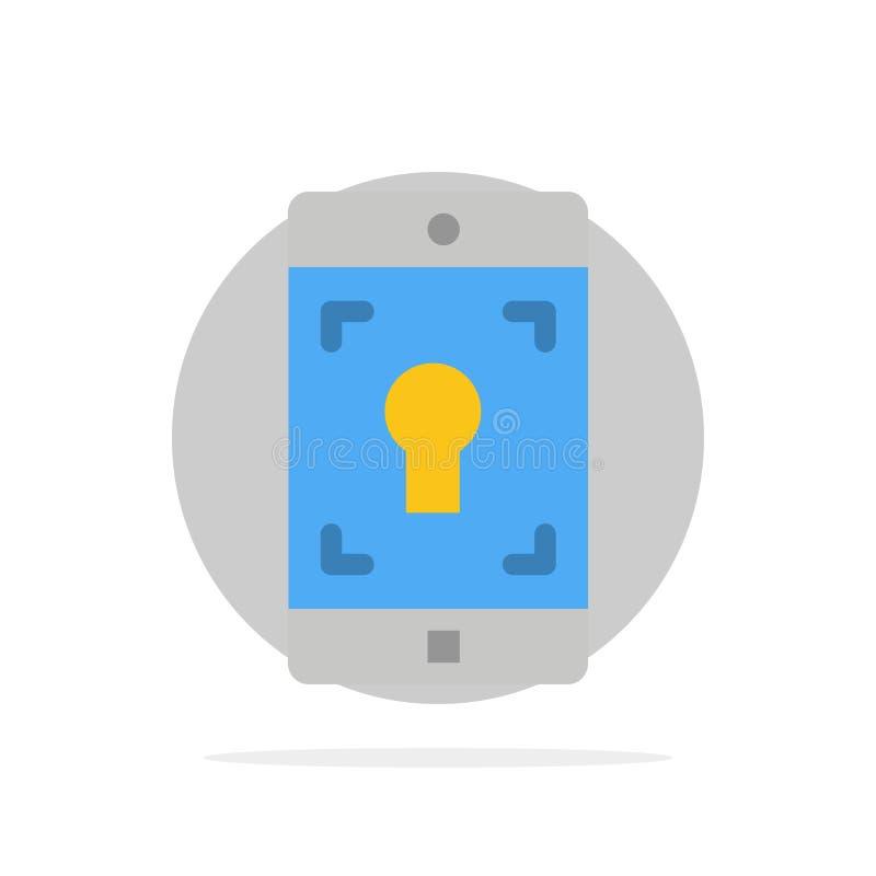Uso, móvil, aplicación móvil, icono plano del color de fondo del círculo del extracto de la pantalla ilustración del vector